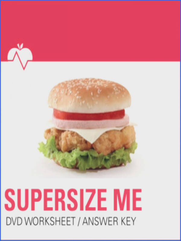 """Supersize Me"" DVD Nutrition Movie Fast Food Worksheet and Answer Key · """