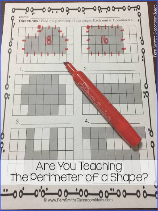 Are You Teaching Perimeter of a Shape Find printables center games and task cards