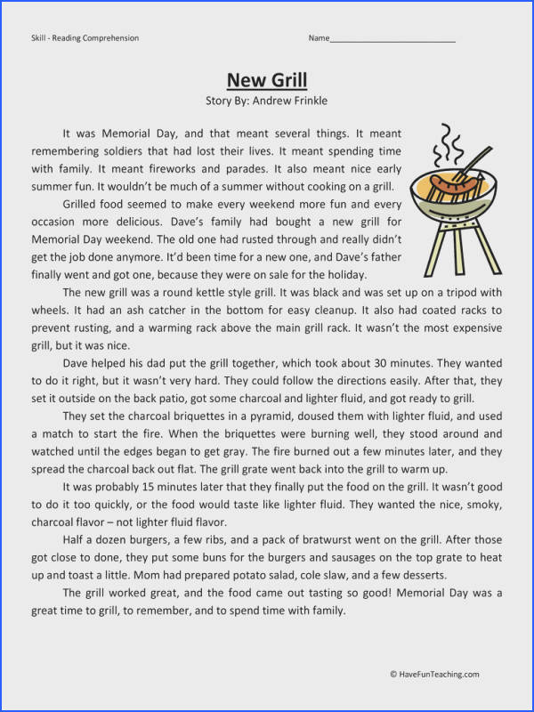 New Grill Fifth Grade Reading prehension Worksheet