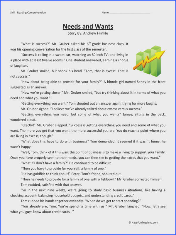 Needs and Wants – Reading prehension Worksheet