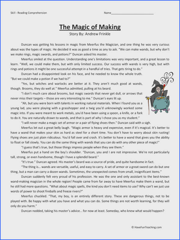 Magic of Making Fifth Grade Reading prehension Worksheet