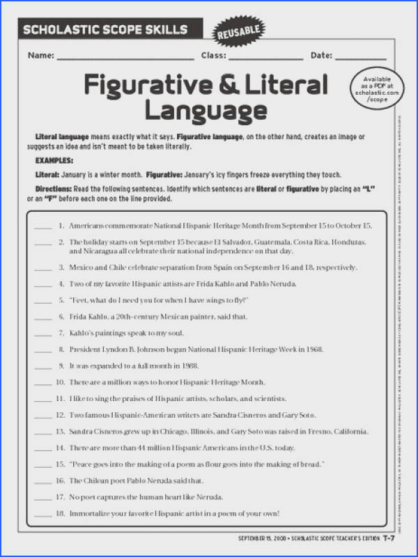 Figurative and Literal Language Worksheet