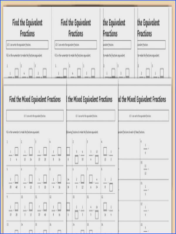 Find Equivalent Fractions Differentiated Worksheet Activity Sheet Pack worksheet Simplifying Fractions