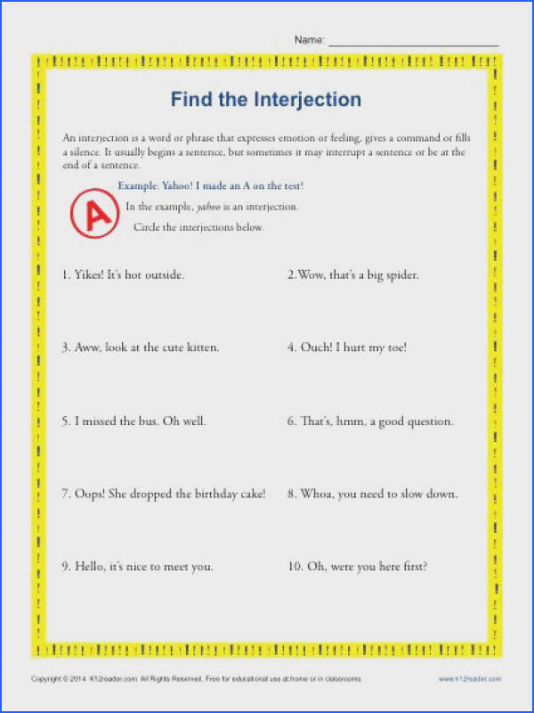 Interjection Worksheet Find the Interjection Have you been looking for a basic interjection worksheet