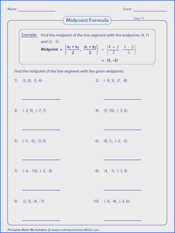 Find the Midpoint Of A Line Segment with the Given Endpoints Image Below Midpoint formula Worksheet