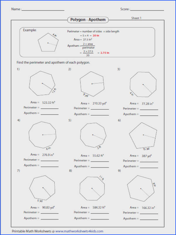 Find the Perimeter and Apothem Of Each Polygon Image Below area Of Polygons Worksheet
