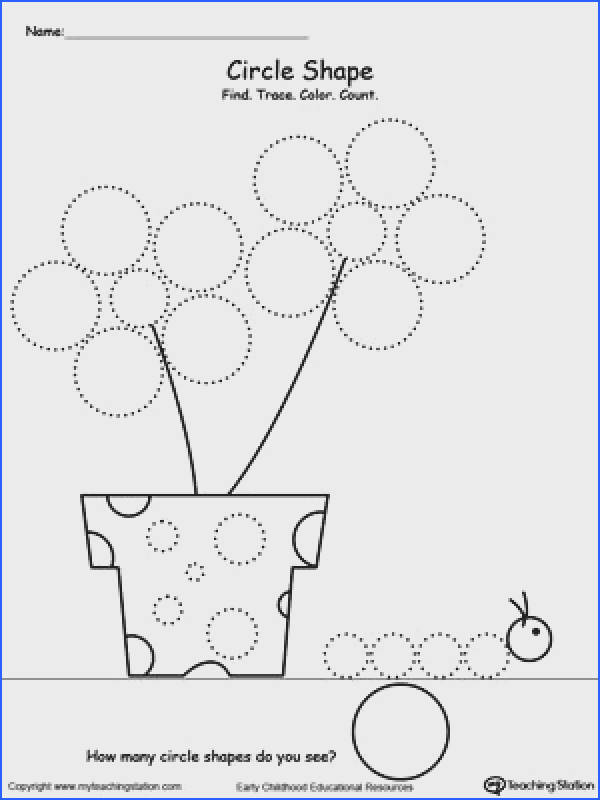 FREE Find Trace Color and Count Circle Shapes Worksheet Practice pre