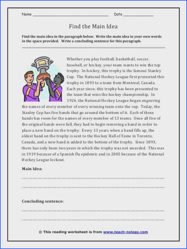 Finding the main idea worksheets 2nd grade