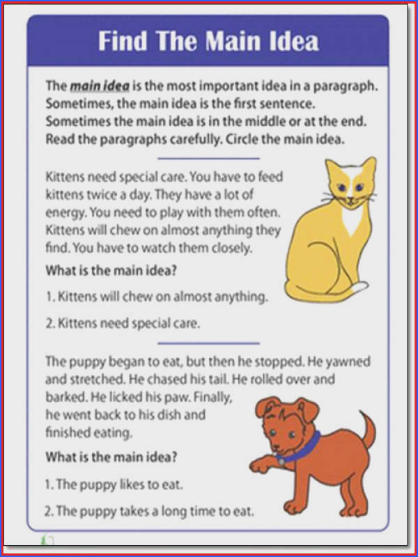 main idea worksheet 1st grade worksheets for all and