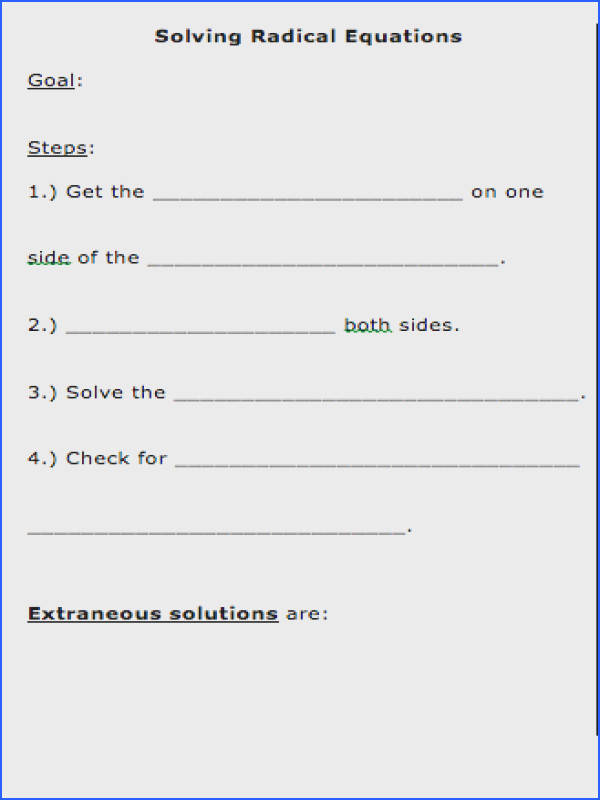 radical equations worksheet - Solving Radical Equations Worksheet
