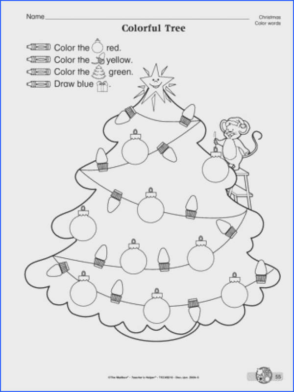 Following directions and color word identification are at the core of this Christmas worksheet