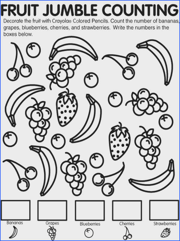 Fruit Jumble Counting coloring page Kids can learn and have fun at the same time