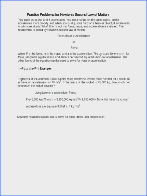 laws of motion worksheet to her with practice problems for newtons second law of motion grade worksheet