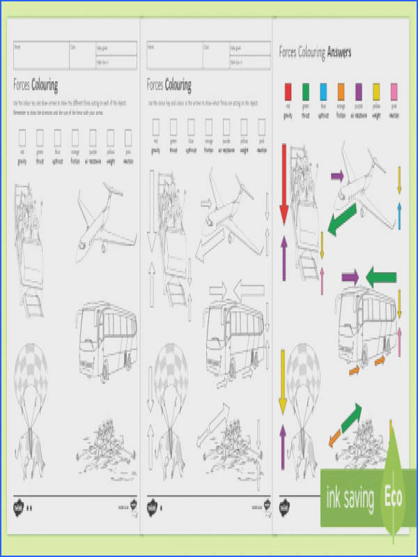 Forces Colouring Homework Worksheet Activity Sheet Homework force forces balanced