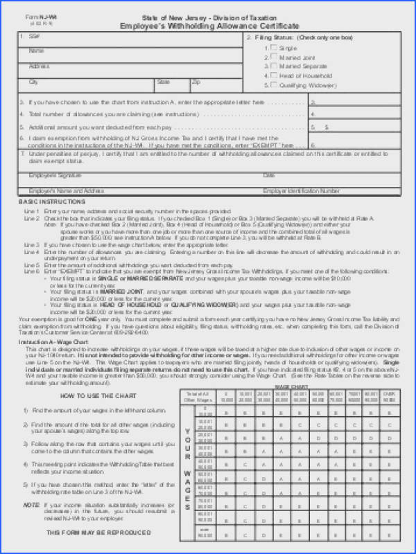 Form NJ W4 Employee s Withholding Allowance Certificate