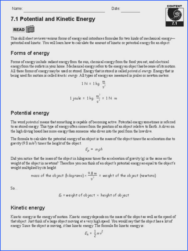 Quiz Worksheet Gravitational Potential Energy Study Kinetic and Potential Energy Worksheet Lesson Planet