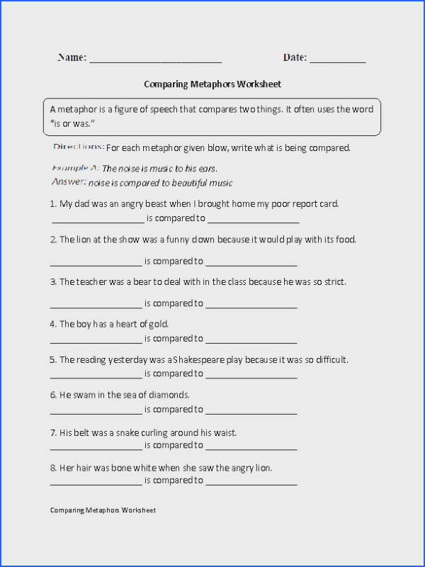 paring Metaphors Worksheet 6th Grade ELA