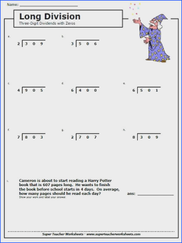 Free Math Worksheets Long Division with Remainders