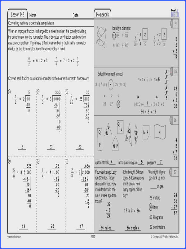 Transform Fourth Grade Math Worksheets Answer Key About Excel Math 04 01 2012 05 01