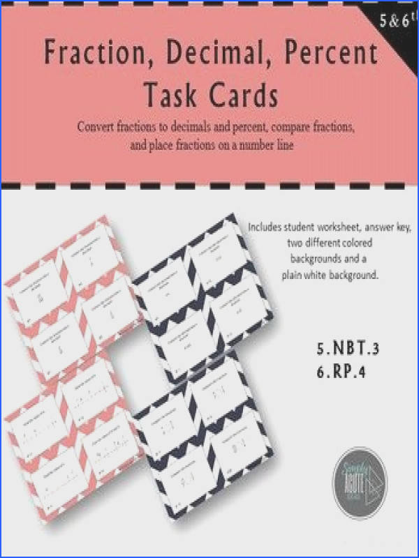 Fraction Decimal and Percent Task Cards