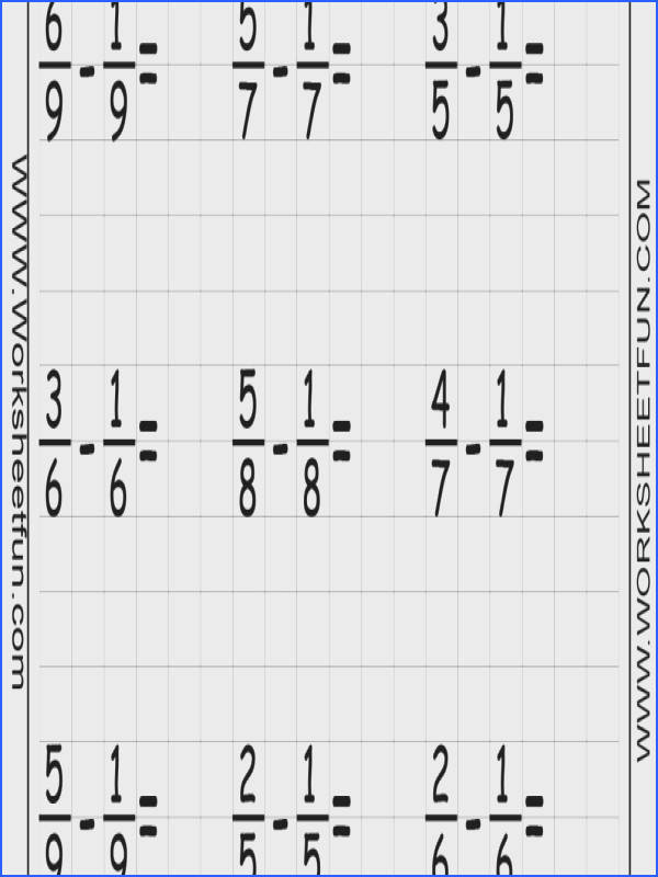 Fraction Subtraction Six Worksheets