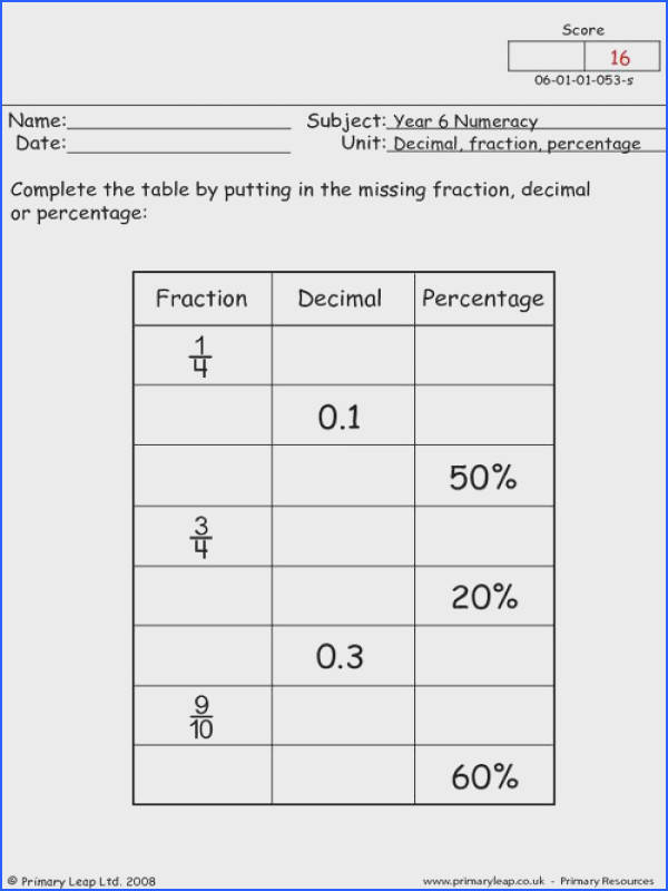 Fractions Decimals and Percents Worksheets & Decimal to Fraction Image Below Fraction Decimal Percent Worksheet