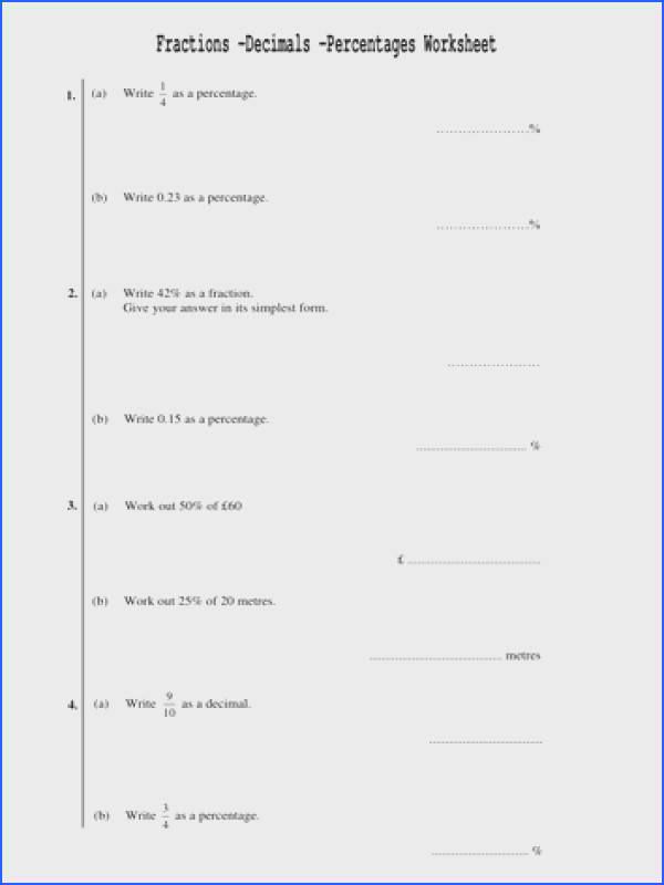 Fractions Decimals Percentages Worksheet 4pages