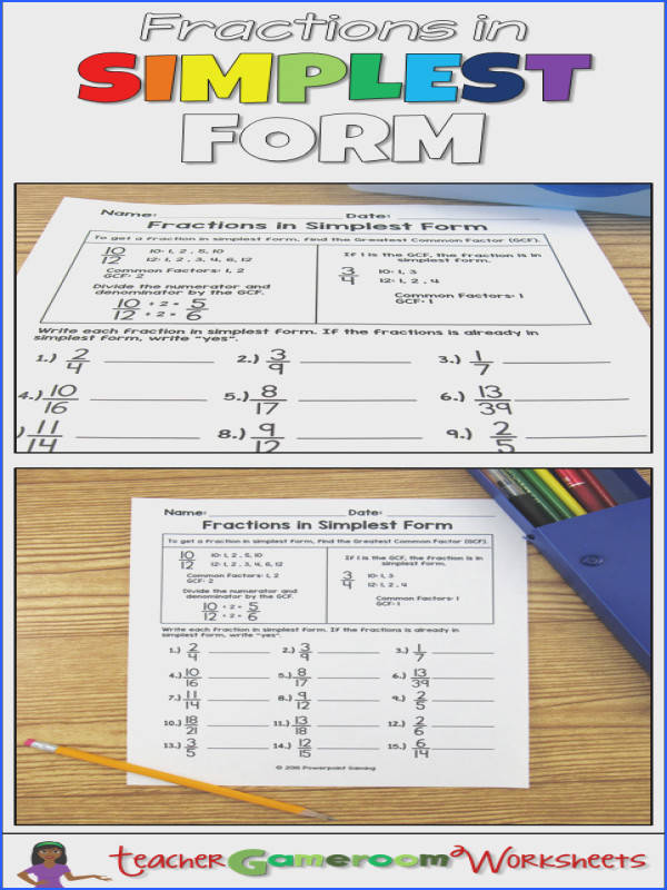 Fractions in Simplest Form GCF Worksheet