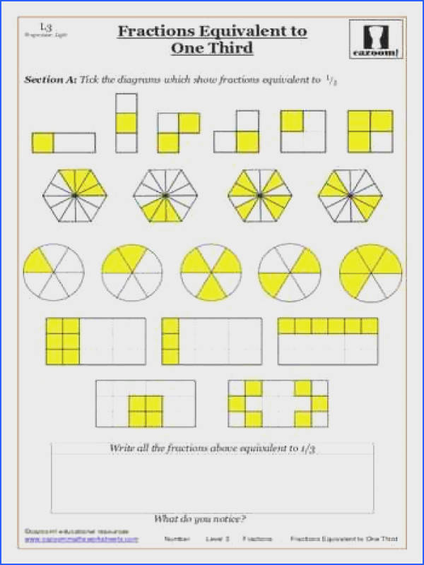 Fractions maths worksheet Equivalent