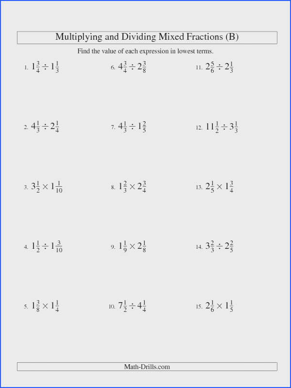 Fractions Worksheet Multiplying and Dividing Mixed Fractions B
