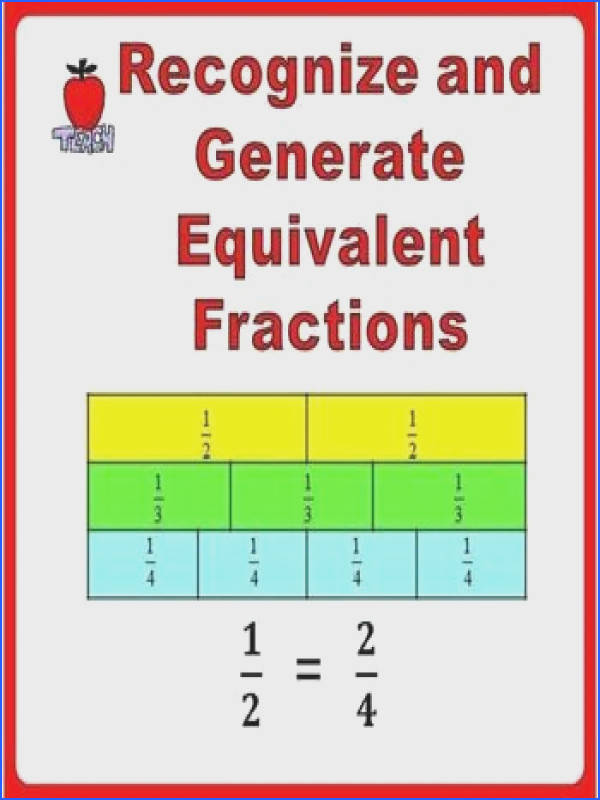 Fractions Worksheets Grade 3 Grade 4 Recognize and Generate Simple Equivalent Equations Visual
