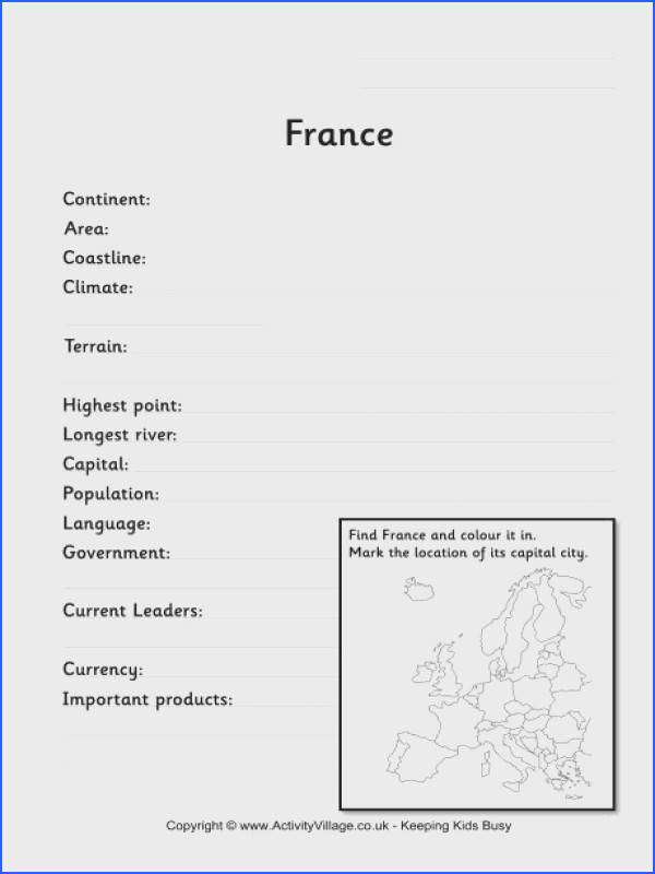France fact worksheet