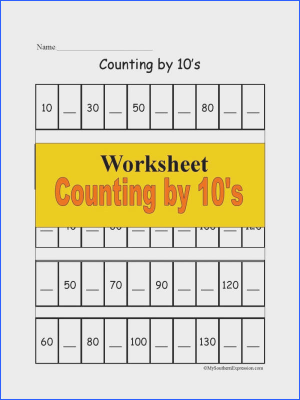 FREE 1st Grade Math Worksheet Counting 10s