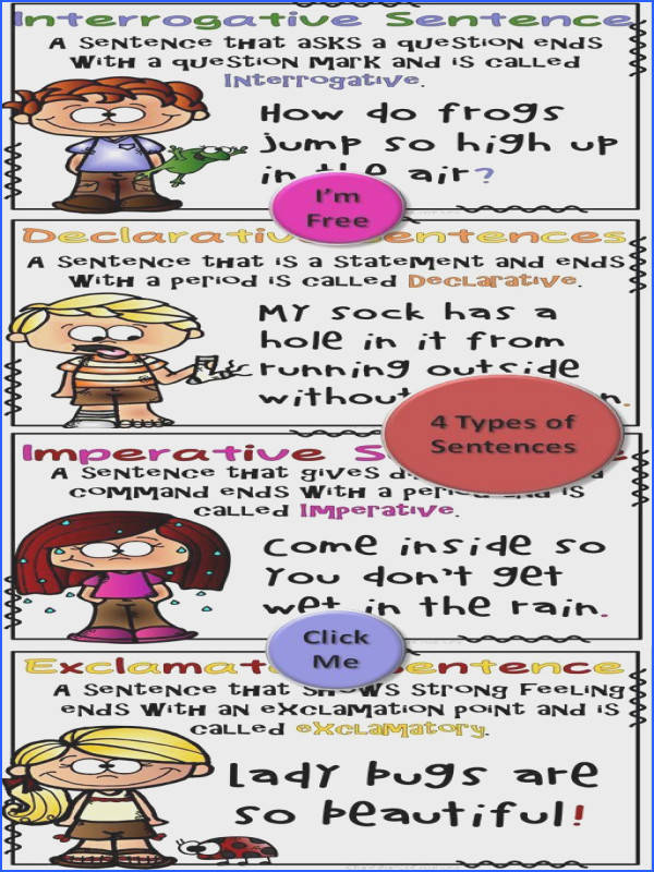 FREE 4 Types of Sentences posters for your elementary classroom Declarative Imperative