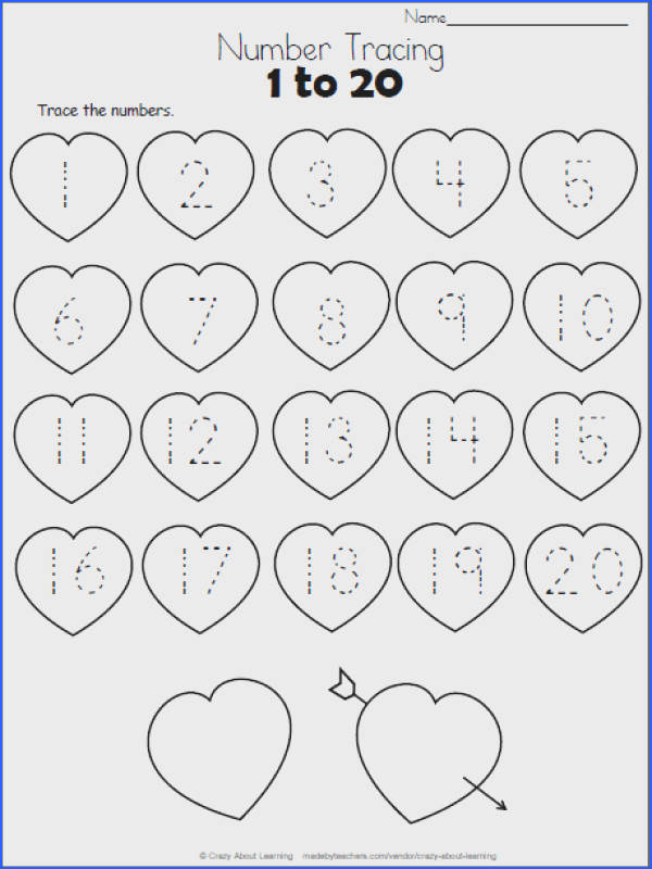 Free Heart Math worksheet Trace the numbers from 1 to 20 on the hearts This worksheet is a perfect valentine number practice printable for preschool and