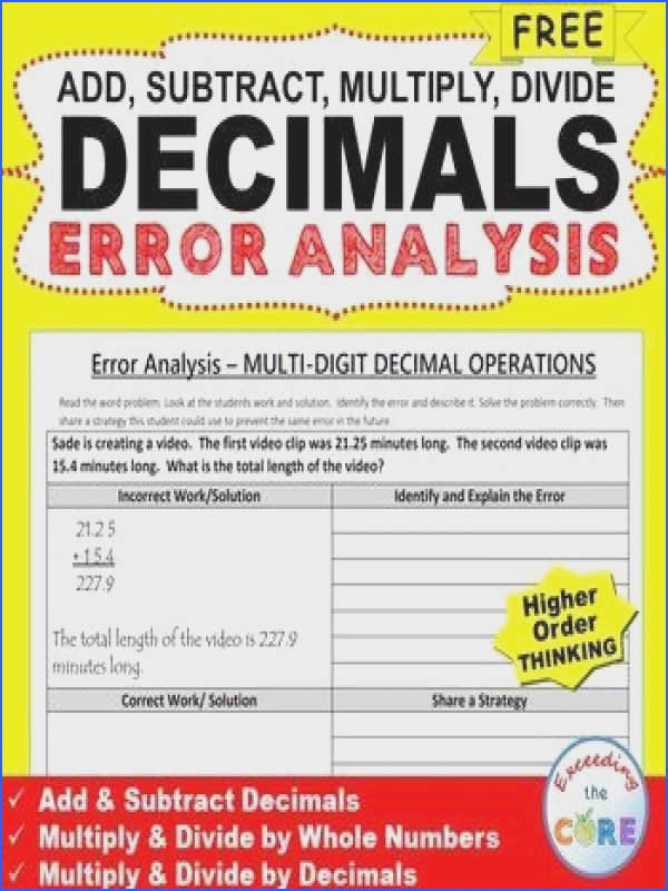 Free DECIMALS Word Problems Error Analysis Worksheet Have your students apply their understanding of DECIMALS with these ERROR ANALYSIS activit…