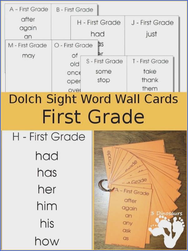 Free Dolch First Grade Sight Word Wall Cards It has all 41 words sorted by