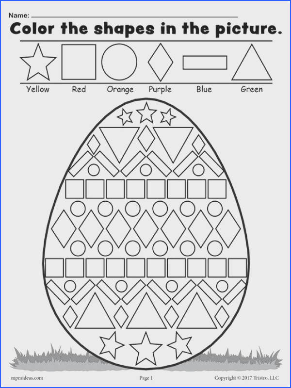 FREE Easter Egg Shapes Worksheet & Coloring Page