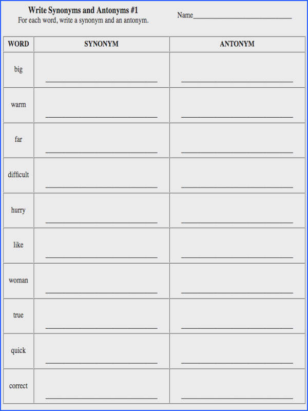 Free Esl Antonyms Worksheets And Synonyms High School Free Best Free Printable Worksheets