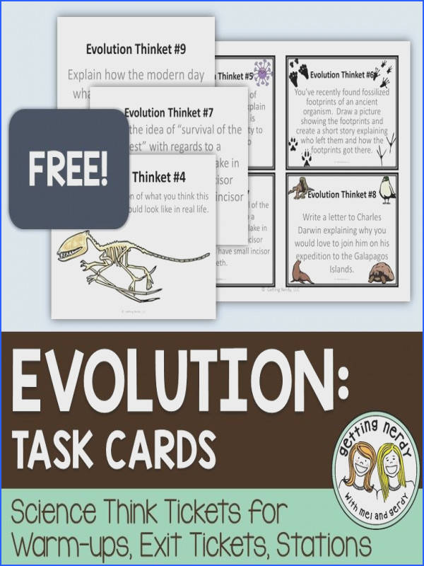 FREE Evolution task cards for science