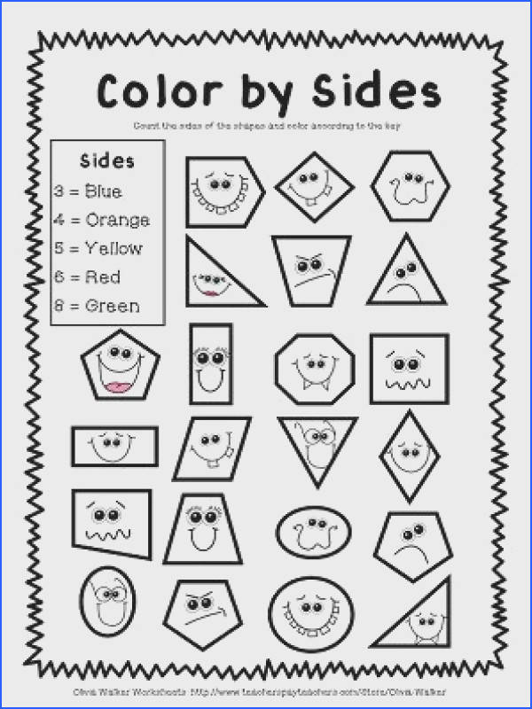 FREE GEOMETRY WORKSHEETS Color by sides plus many more Geometry WorksheetsShapes WorksheetsFree Kindergarten Math