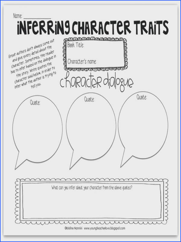 Free Inferring Character Traits Through Dialogue Blog Post Plus Image Below Character Traits Worksheet