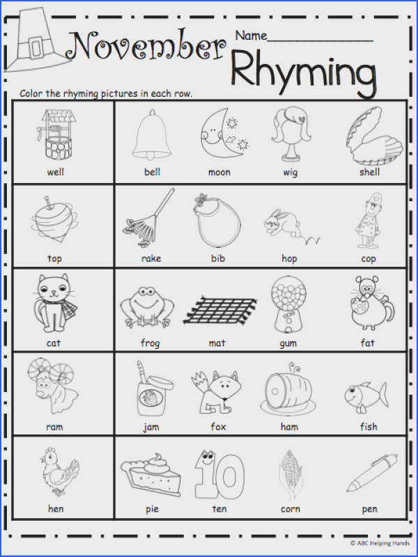 Free Kindergarten Rhyming Worksheets for November
