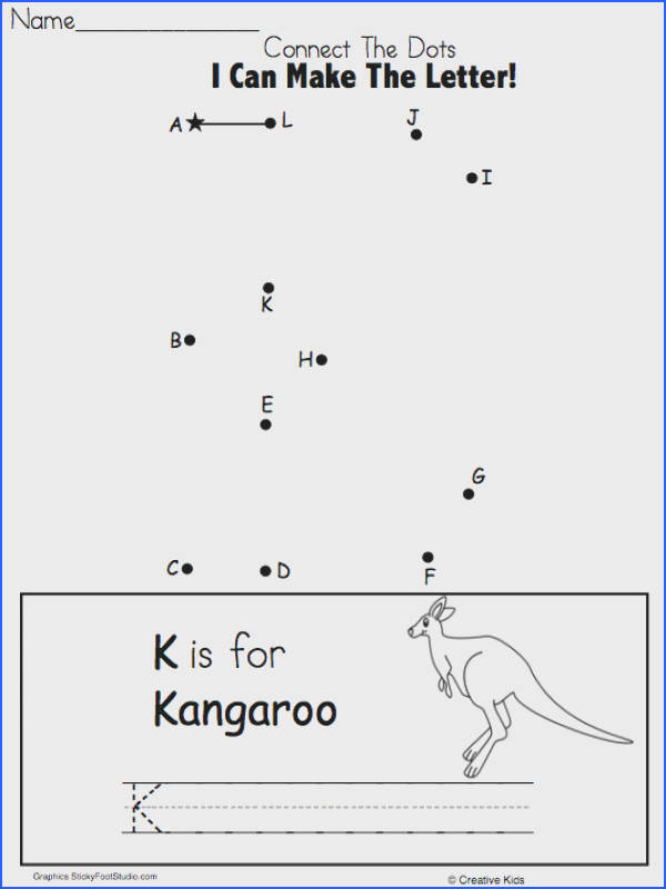 Free Letter K Writing and Dot to Dot for Kindergarten and Preschool Fun letter formation practice for beginning writers This worksheet is perfect for