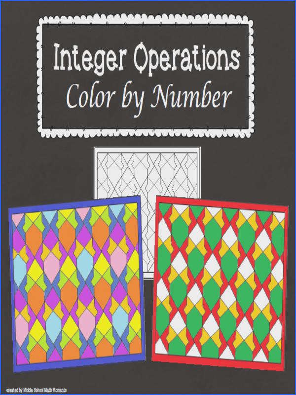 FREE MATH LESSON Integer Operations Color by Number