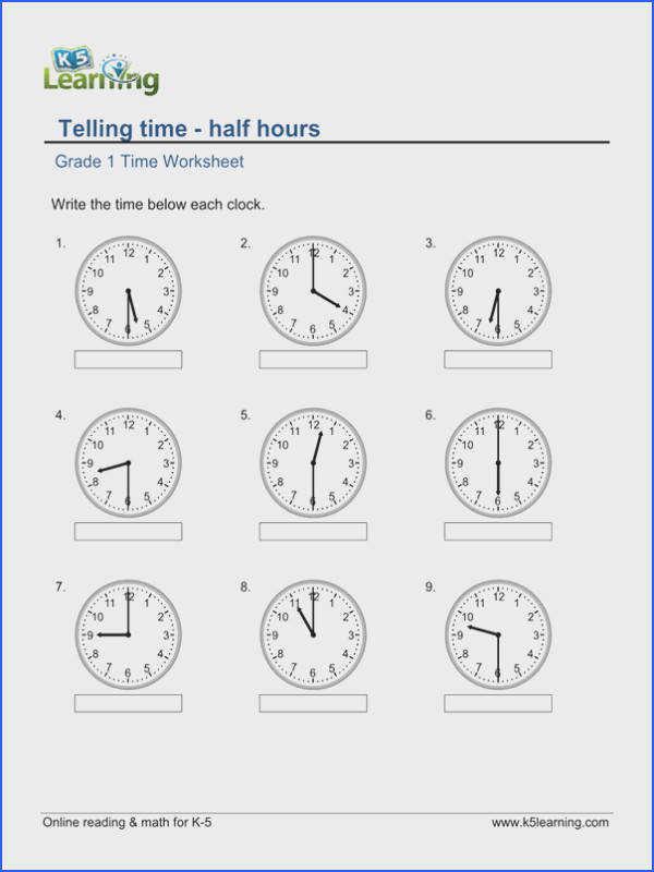 Telling Time Grade 1 Telling Time worksheet