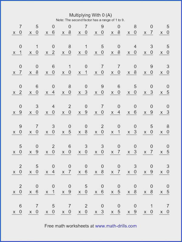 Free Multiplication Chart 1 12 From Multiplication Drill Sheets to Print 2 50 Problems Worksheets for