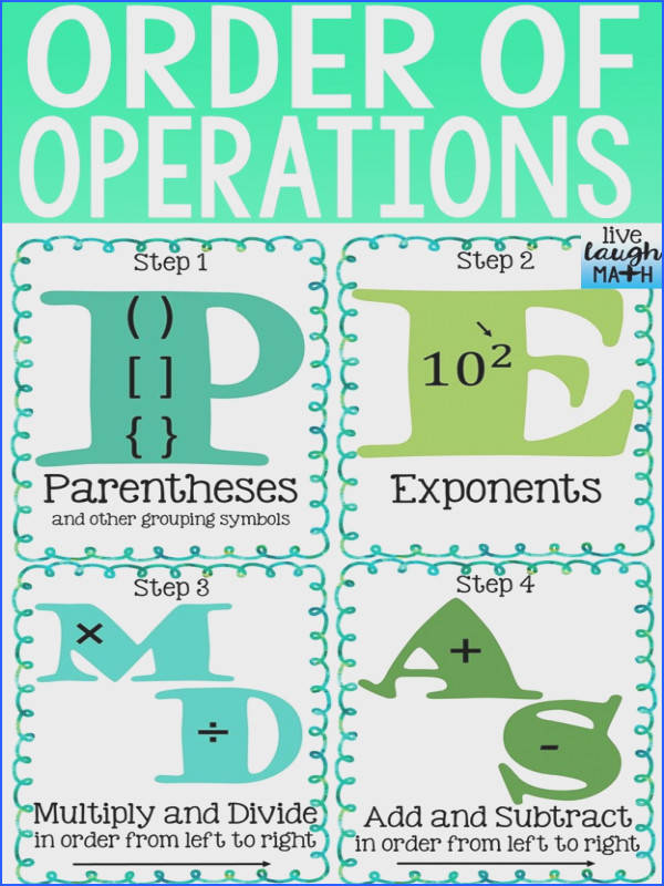FREE Order of Operations Reference Sheet