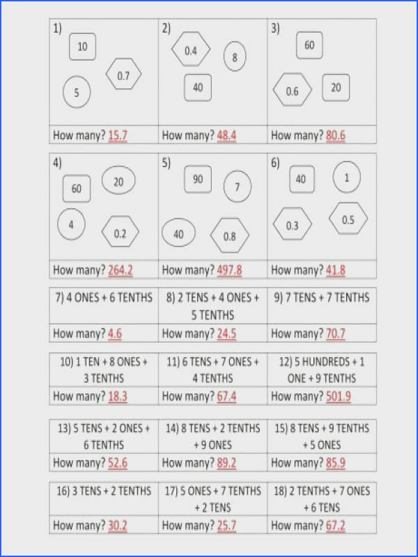 decimal place value worksheets 4th grade in math for kitchen answers 4 a part of under