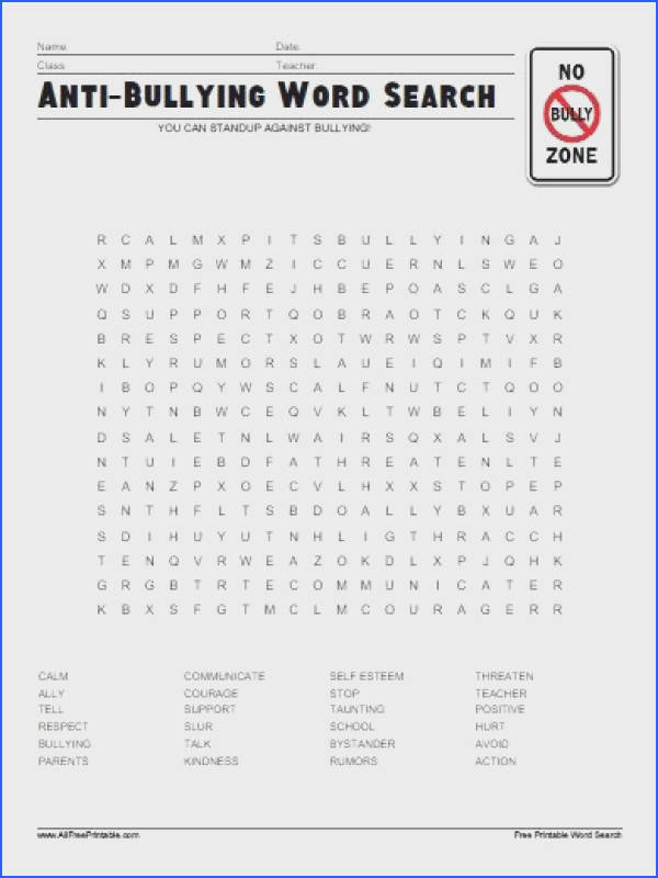 Free Printable Anti Bullying Word Search